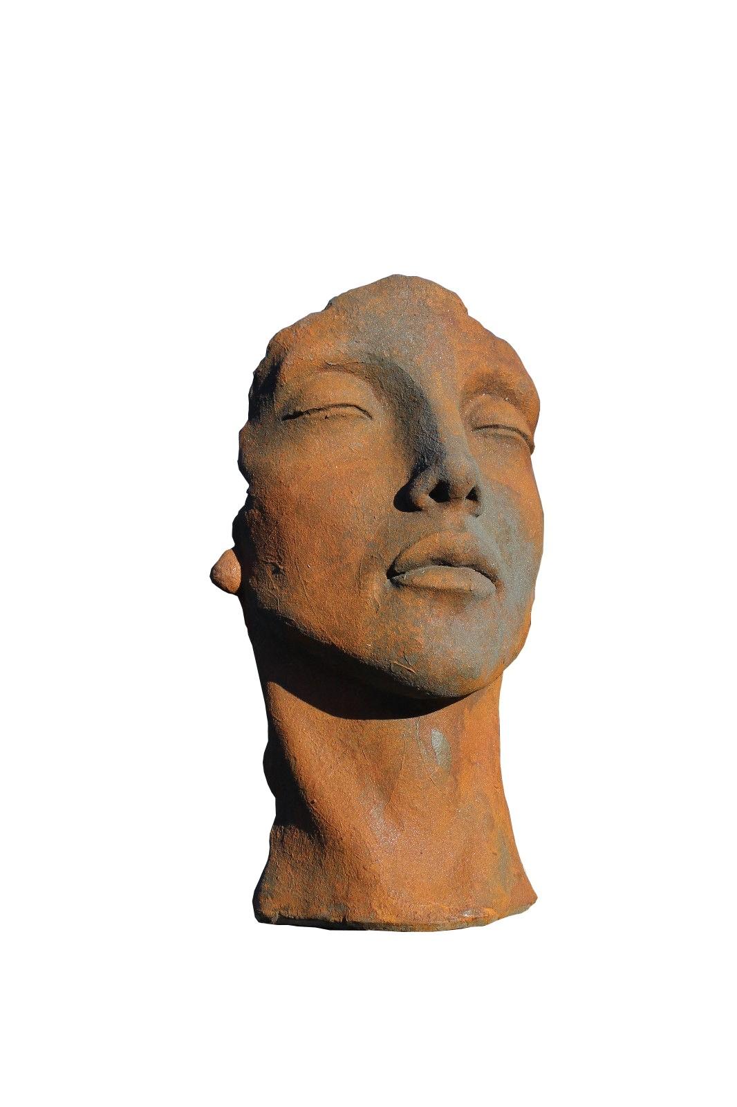 Skulptur Gesicht Frau klein Oxid