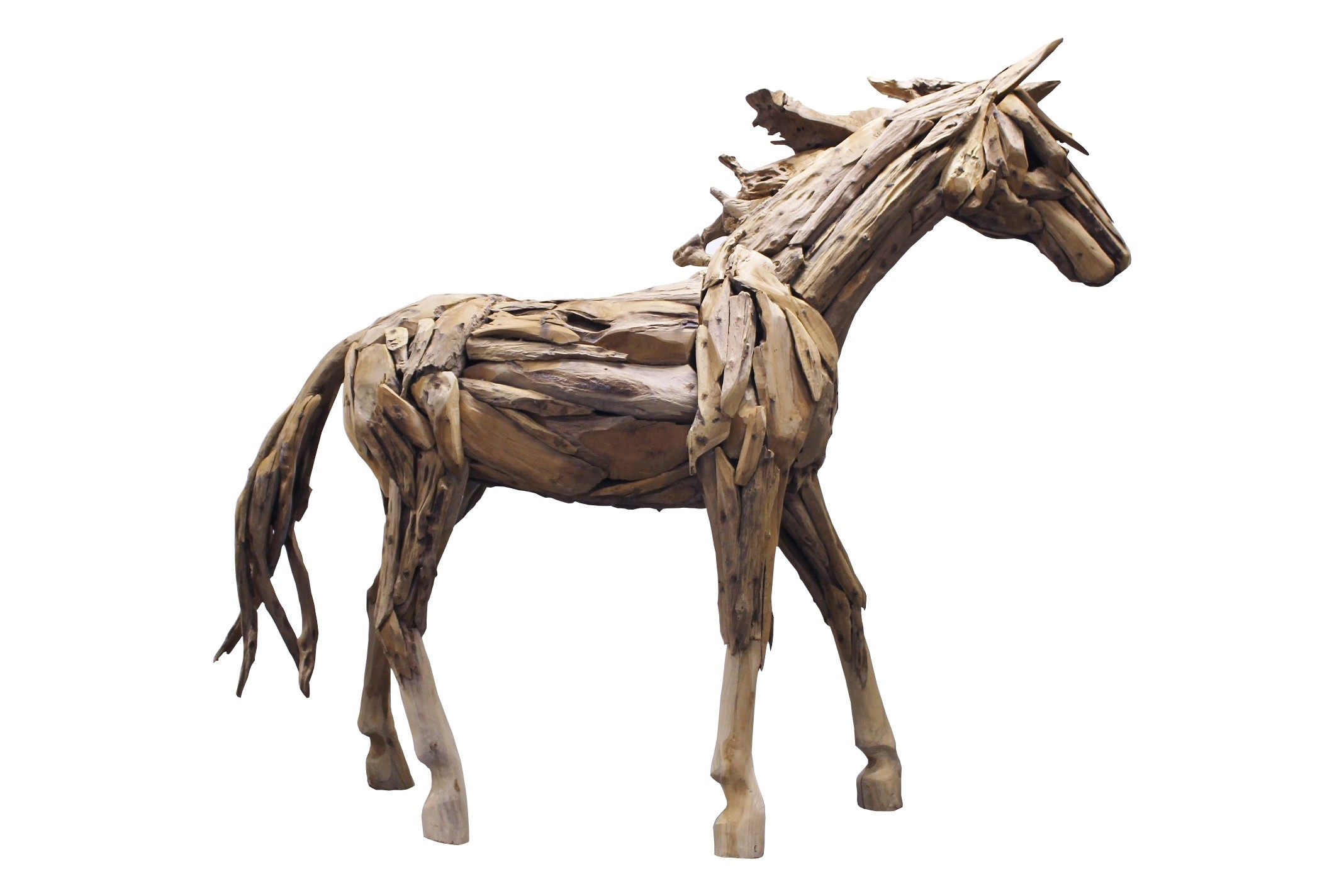Teak Skulptur Pferd  lebensgross Unikat No2 Treibholz