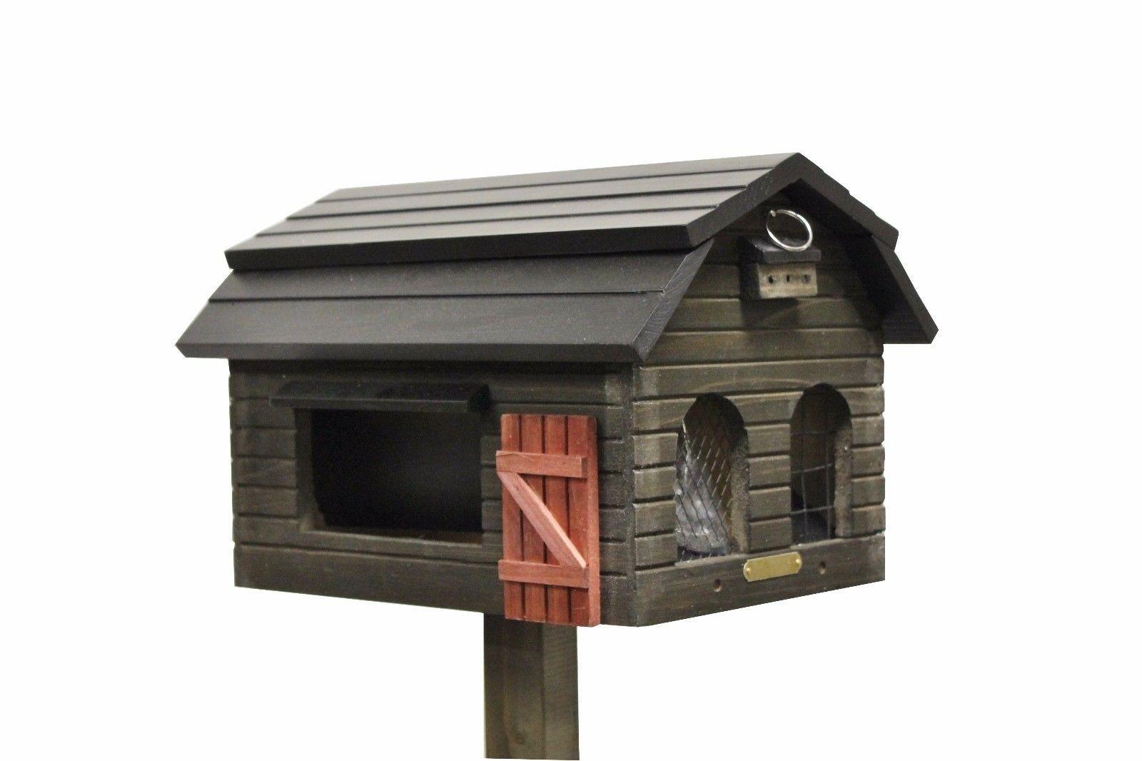 SET Futterscheune + Pfahl braun von Wildlife Garden Vogelhaus