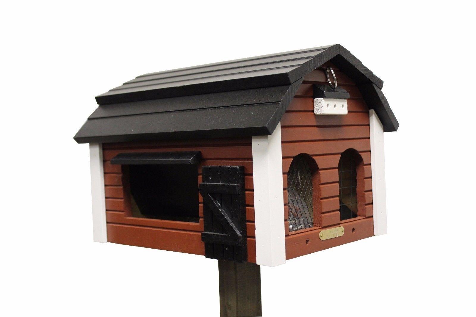 SET Futterscheune + Pfahl rot von Wildlife Garden Vogelhaus