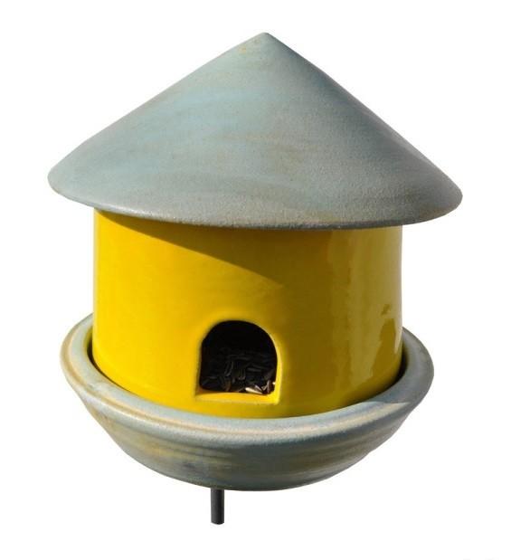 Vogeltränke Vogelhaus 2in1  Keramik gelb/creme
