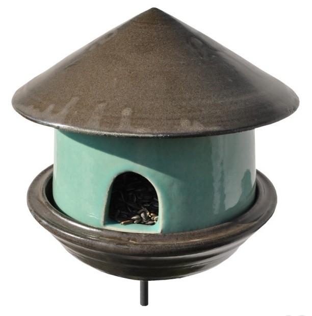 FutterTränke Keramik grün/schwarz