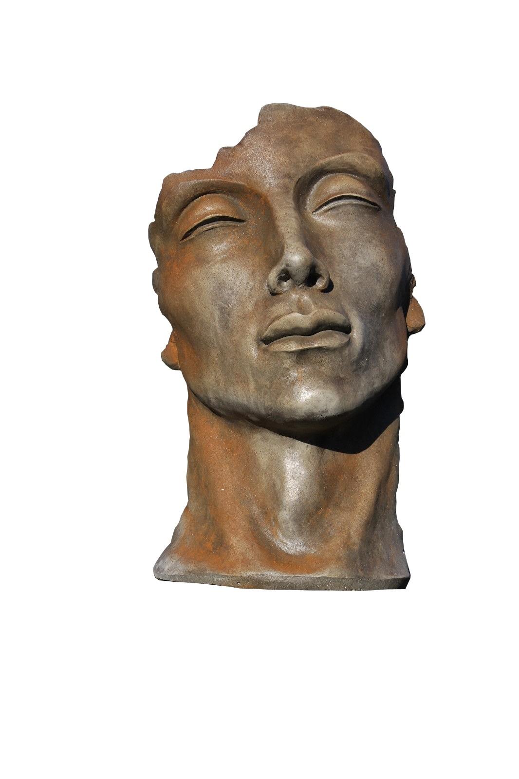Skulptur Gesicht Mann klein Rosteffekt