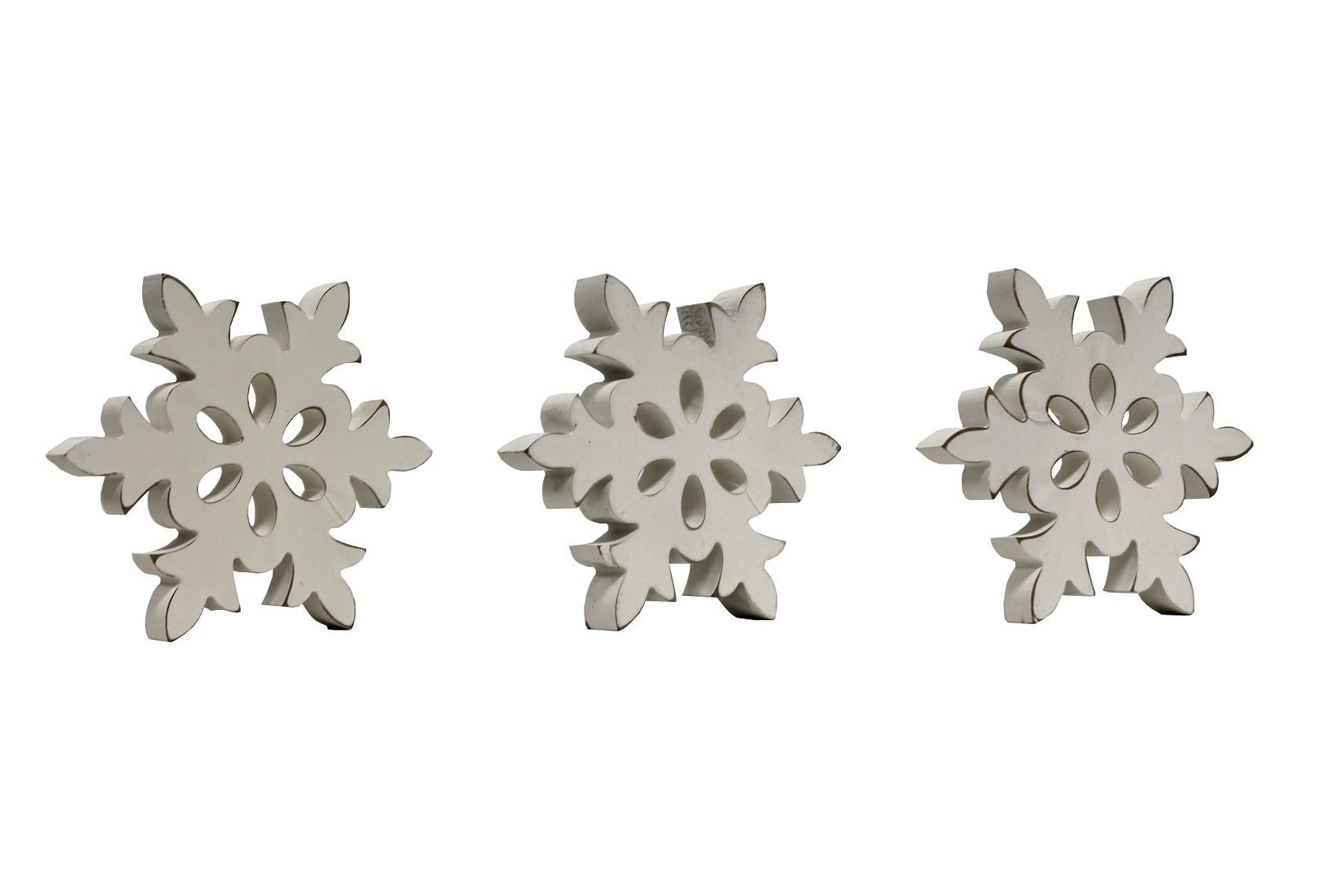 3er Set Deko Vollholz Schneeflocken weiß groß