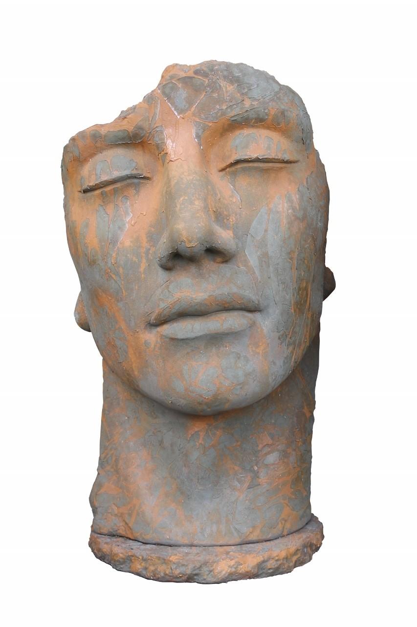 Skulptur Gesicht Mann Rosteffekt