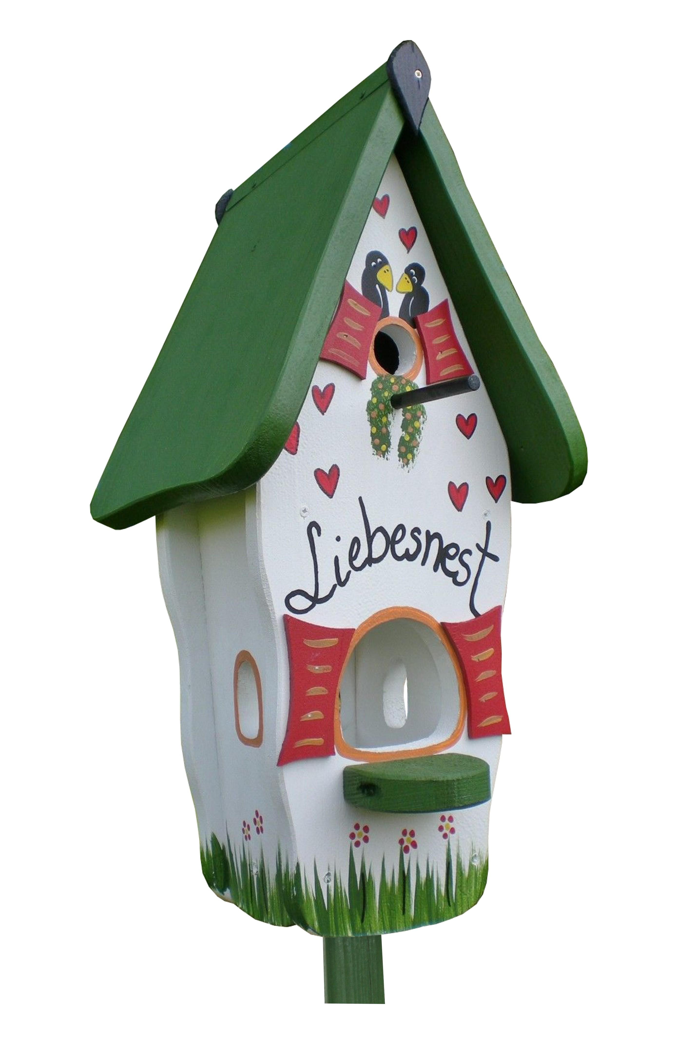 Liebesnest weiß-grün Minivilla 1 von Die Vogelvilla