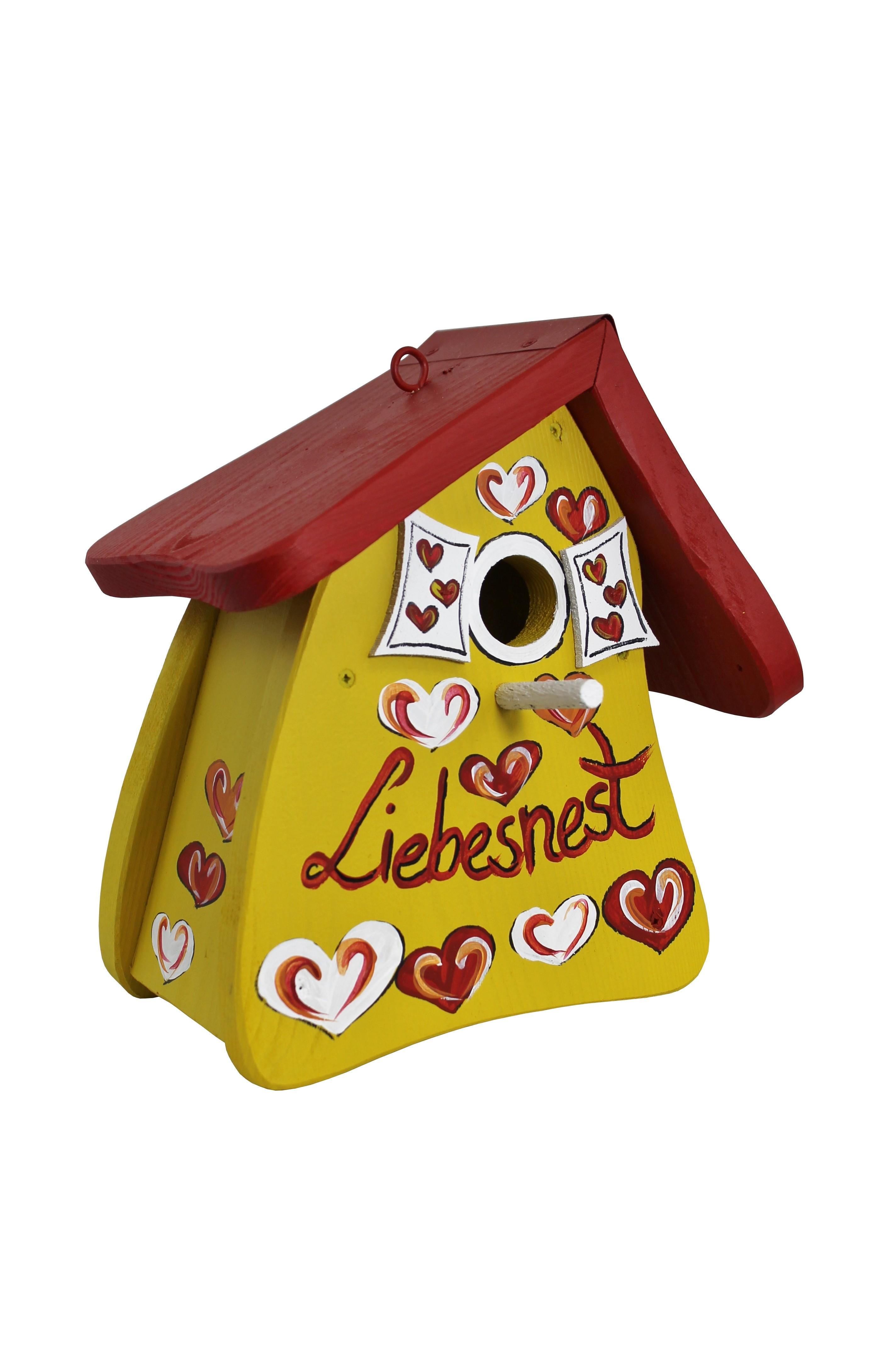 Nistmini Liebesnest Herzen gelb von Die Vogelvilla