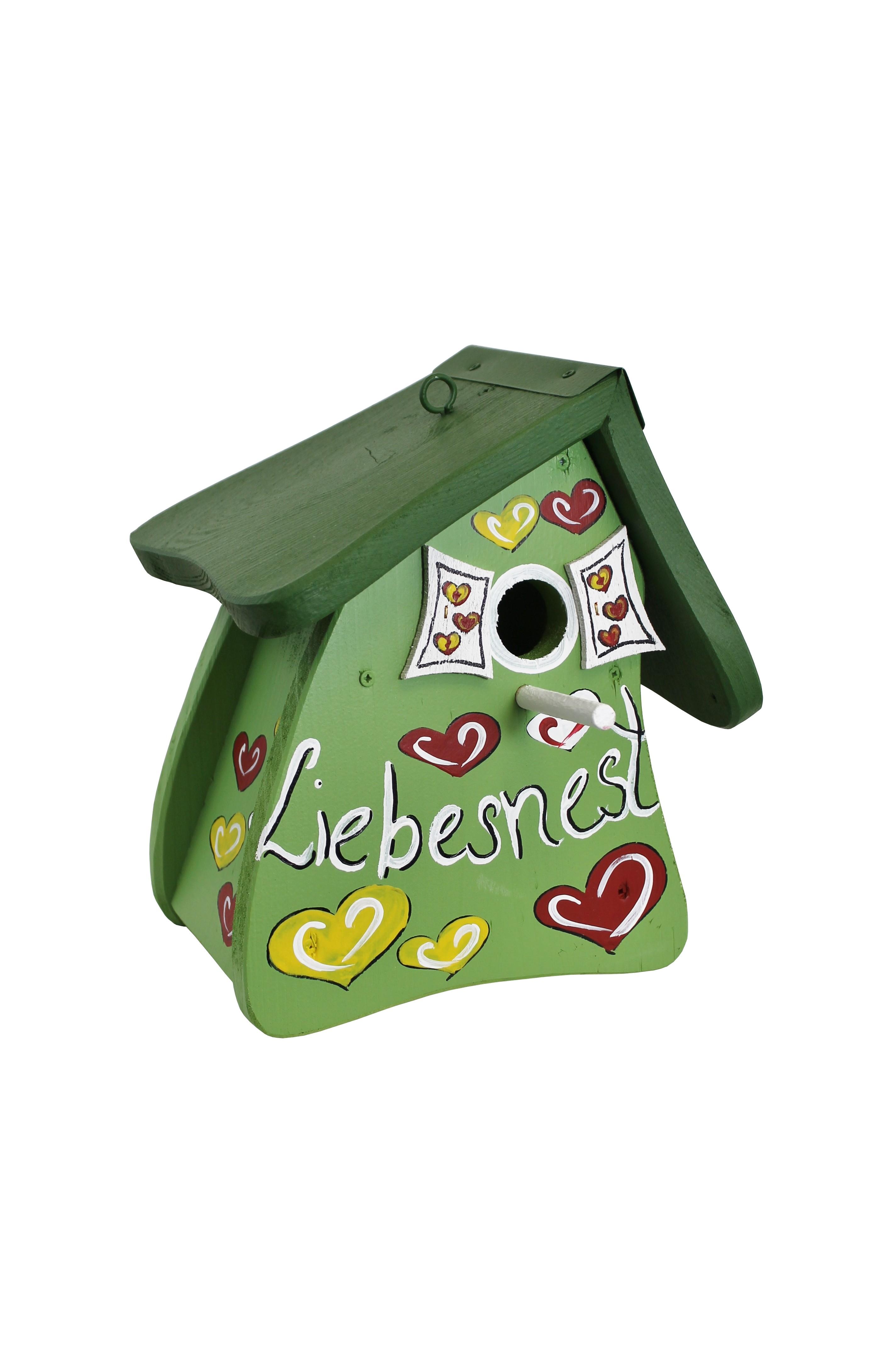 Liebesnest Herzen grün Nistmini von Die Vogelvilla