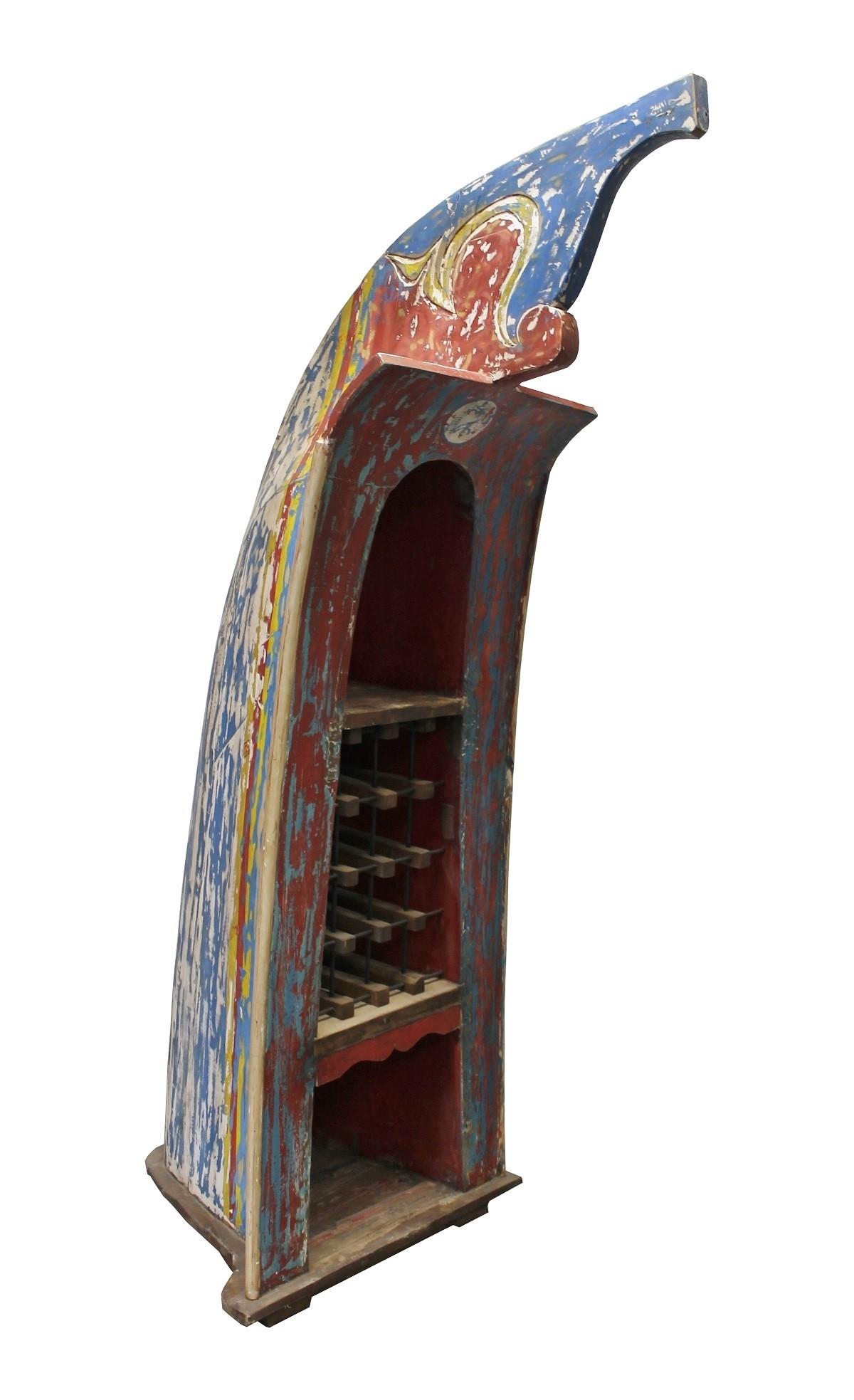 Teak Unikat Regal Boot Weinregal rot blau 205cm