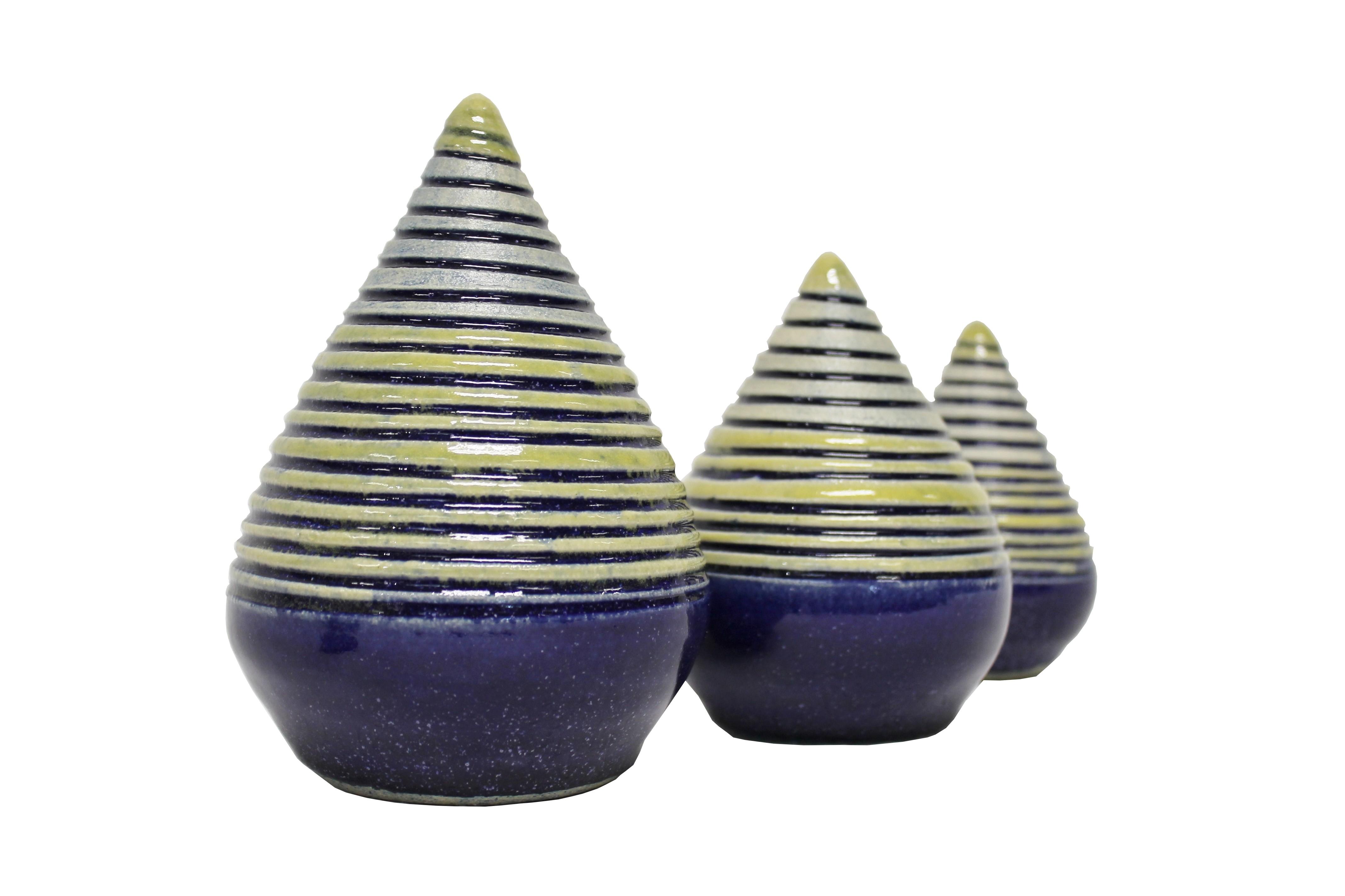 Keramik Rosenkugel Zapfen blau in 3 Größen