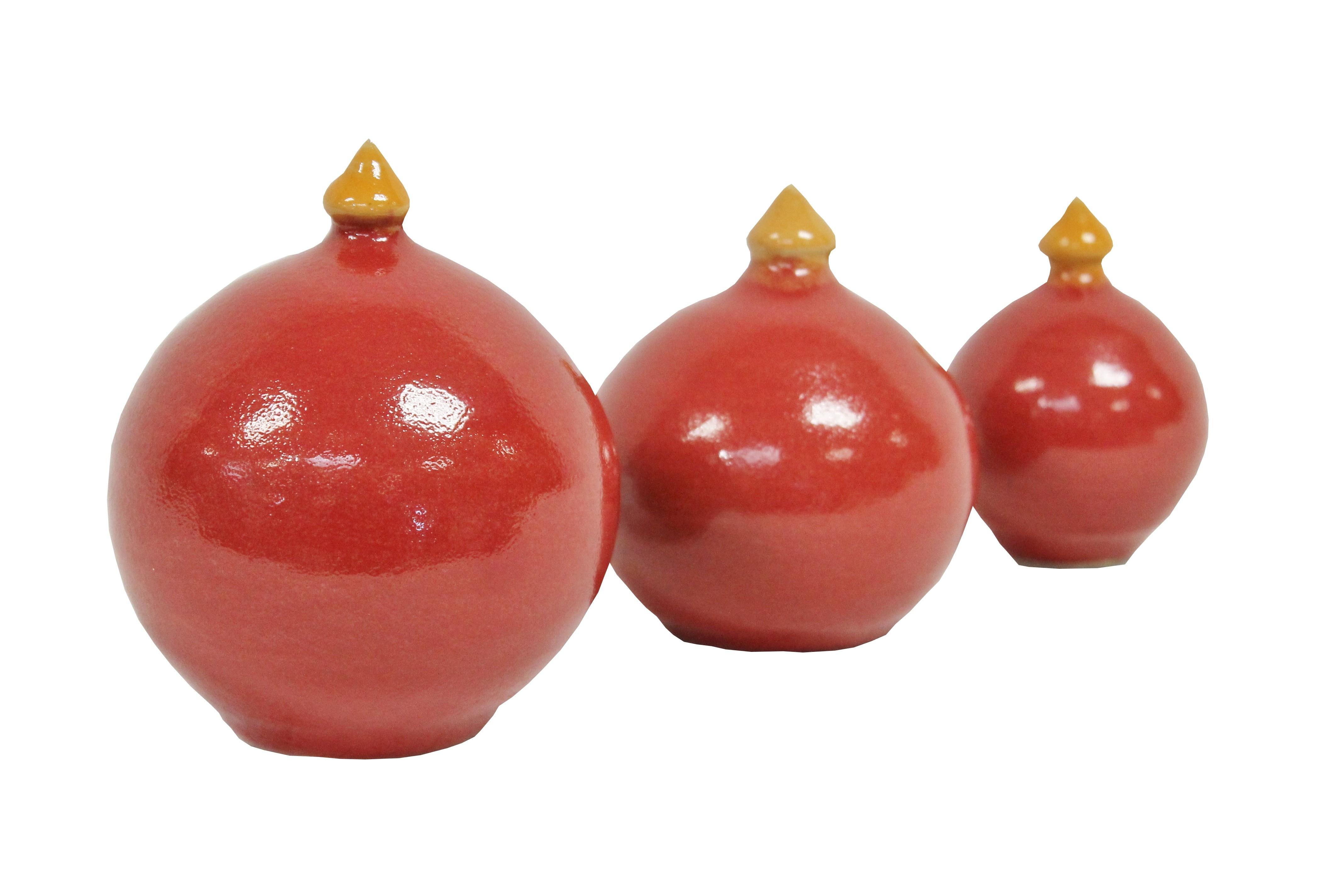 Keramik Rosenkugel mit Spitze rot in 3 Größen