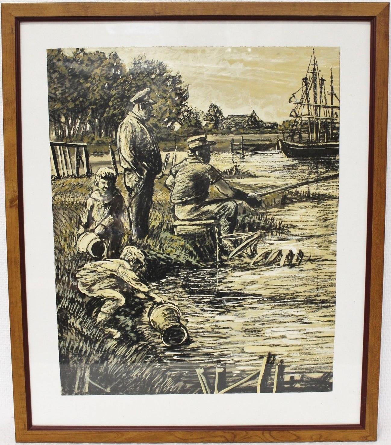"""Original Gemälde """"Ostfriesische Landschaft mit Anglern und Fischerkutter"""" Karl Jänich"""