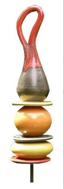 Gartenstecker Keramik Säule Schlinge