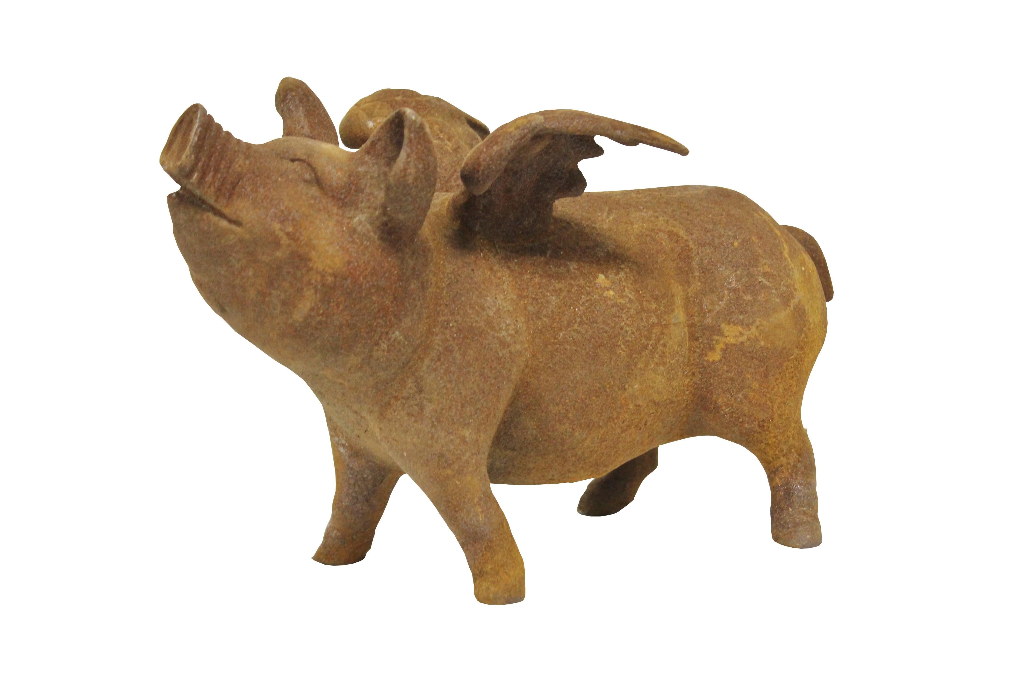 Deko Figur Schwein Rost Patina