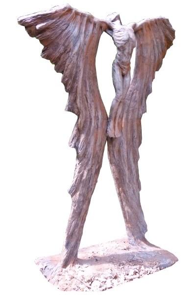 Skulptur Ikarus Rosteffekt Steinguss 190cm 220 Kg