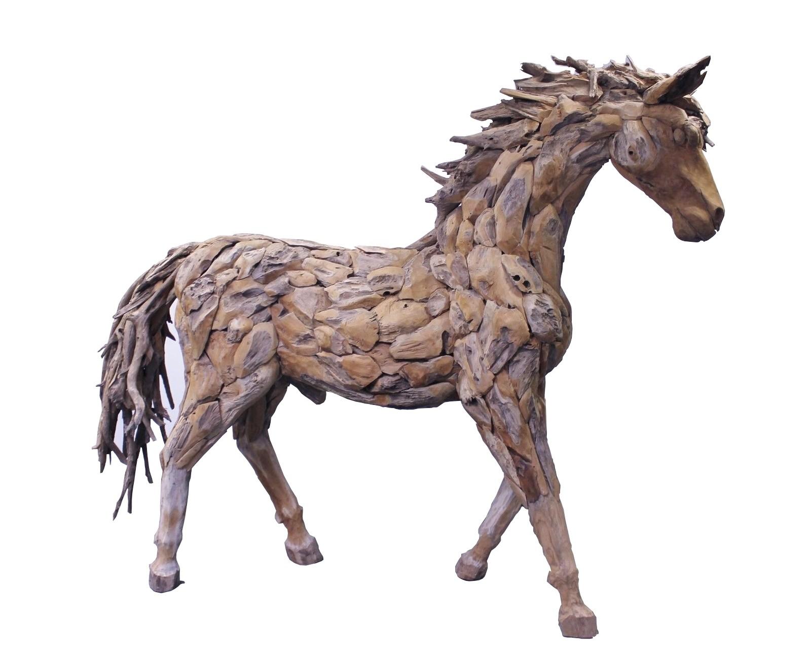 Teak Skulptur Pferd  lebensgross Treibholz