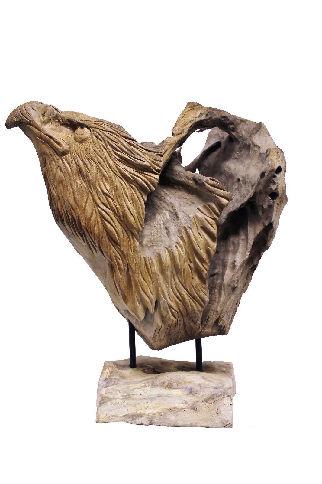 Teak Skulptur Adlerkopf Unikat