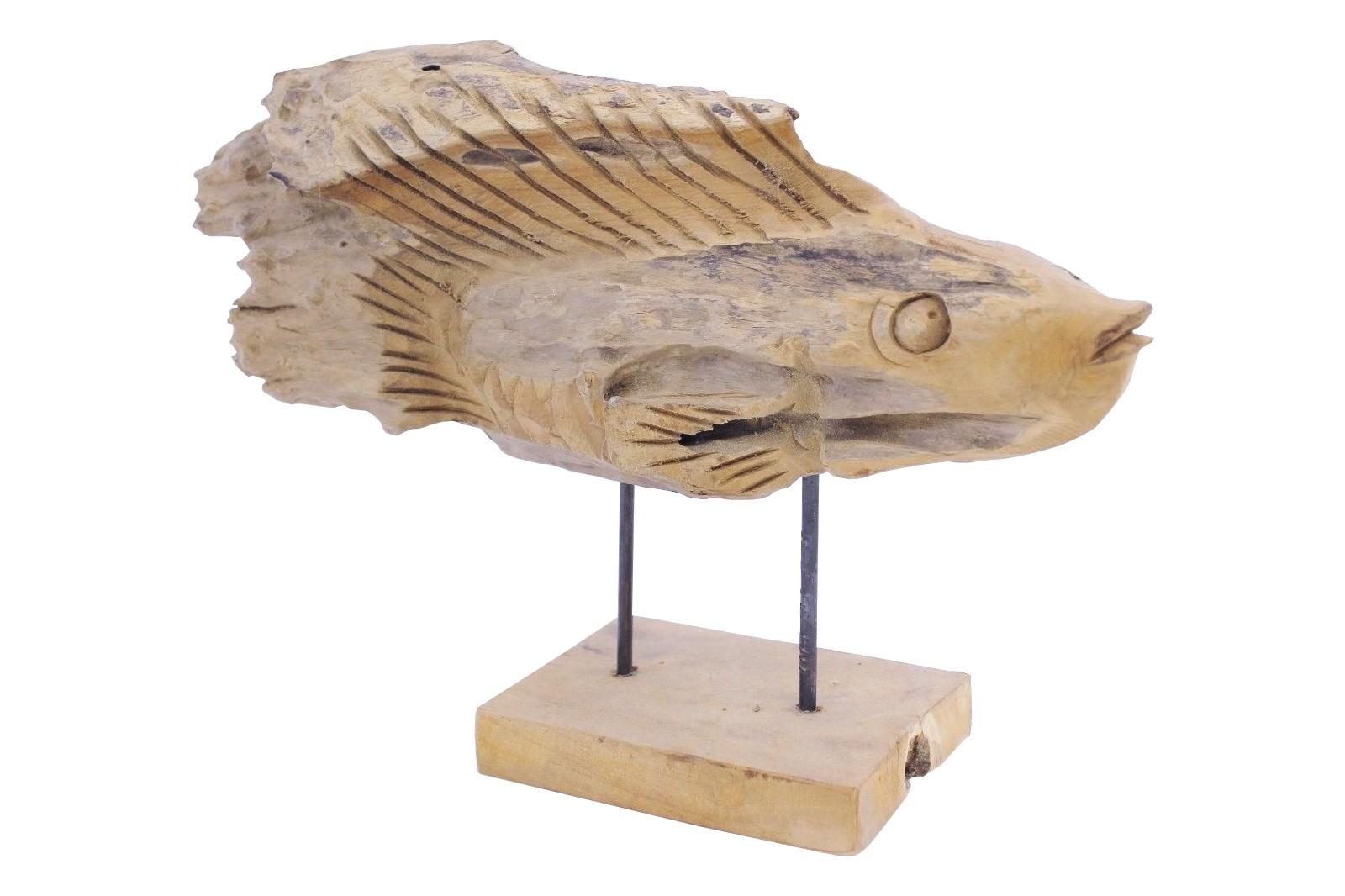 Teak Skulptur Fisch Unikat No7