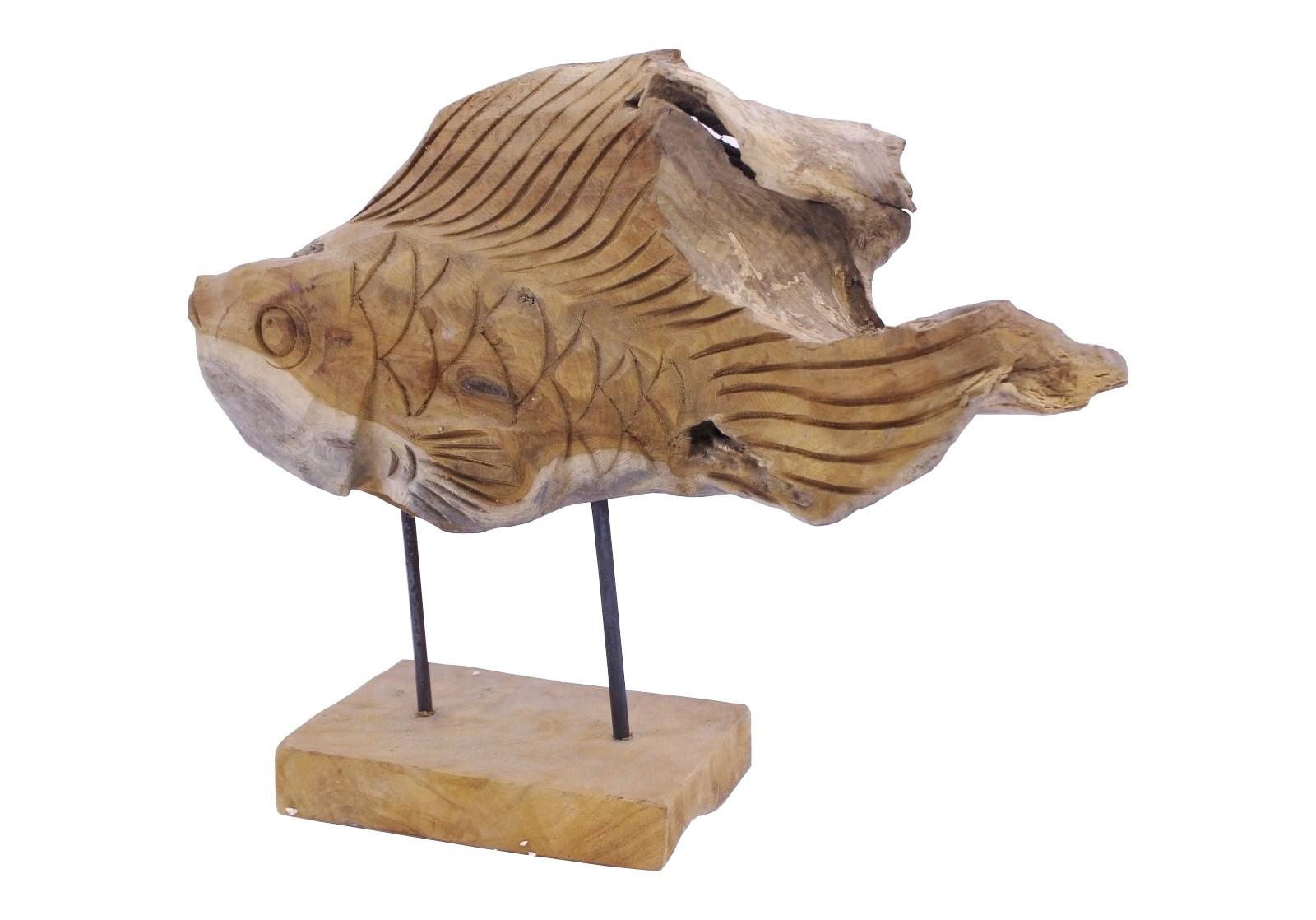 Teak Skulptur Fisch Unikat No8