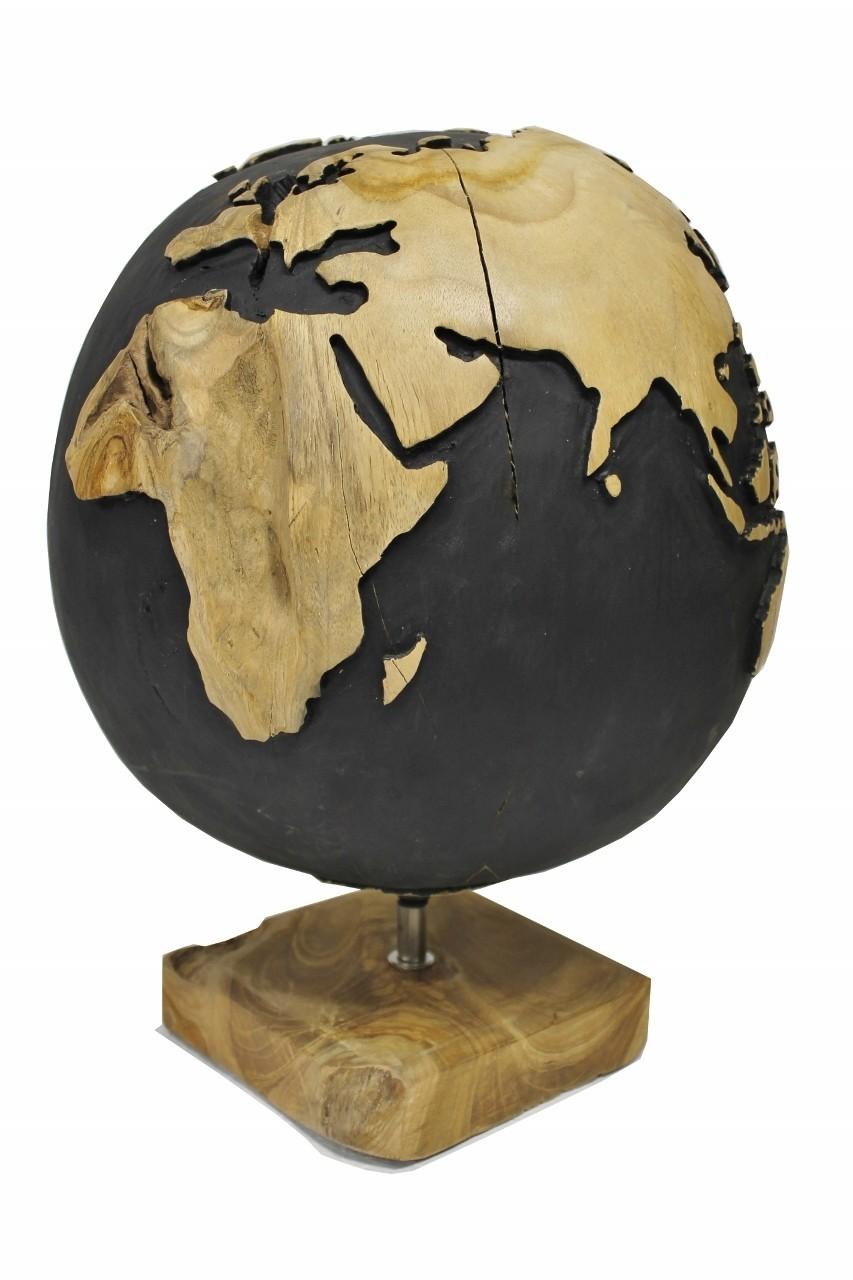 Teak Skulptur Globus Weltkugel Wurzelholz