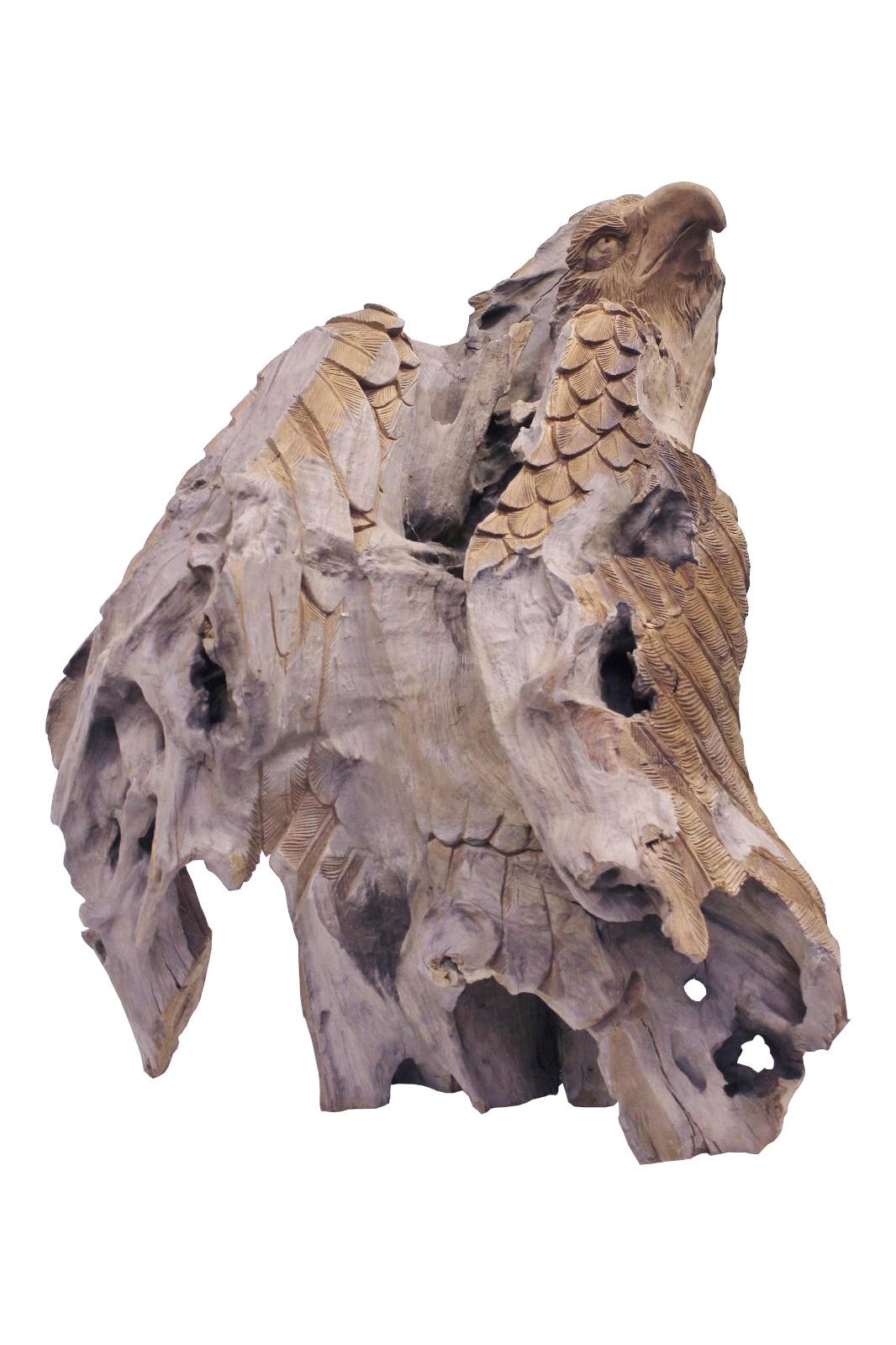Teak Skulptur Adler gross No1 Wurzelholz