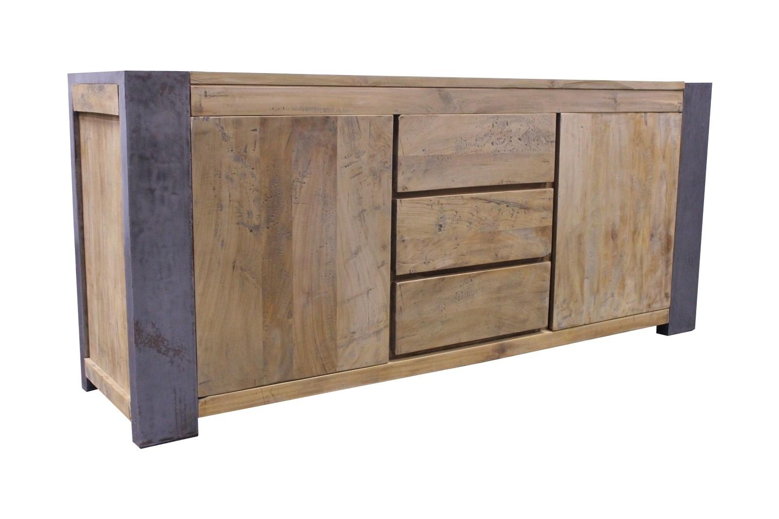 Vintage Teak Stahl Sideboard Loft Industrial 200cm LF065