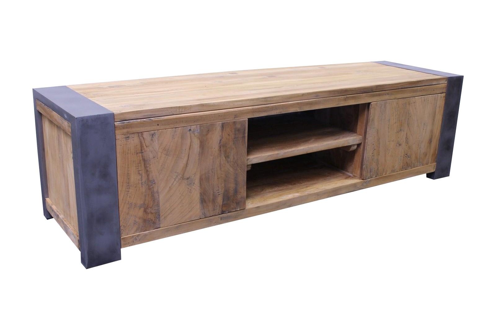 Vintage Teak Stahl TV Lowboard Loft Industrial 160cm LF068