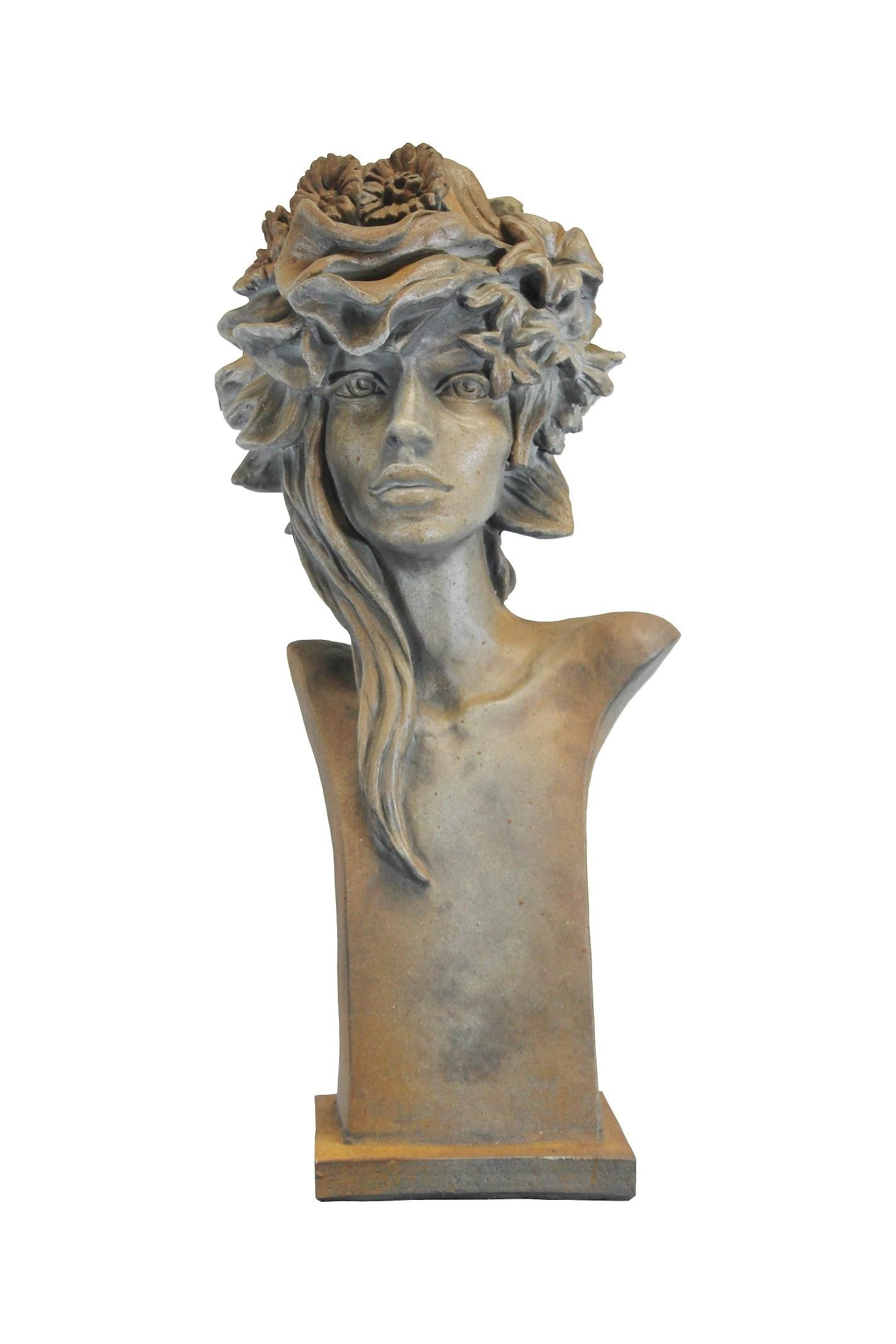 Skulptur Büste Art Deco Sommer  Rosenmädchen Rosteffekt