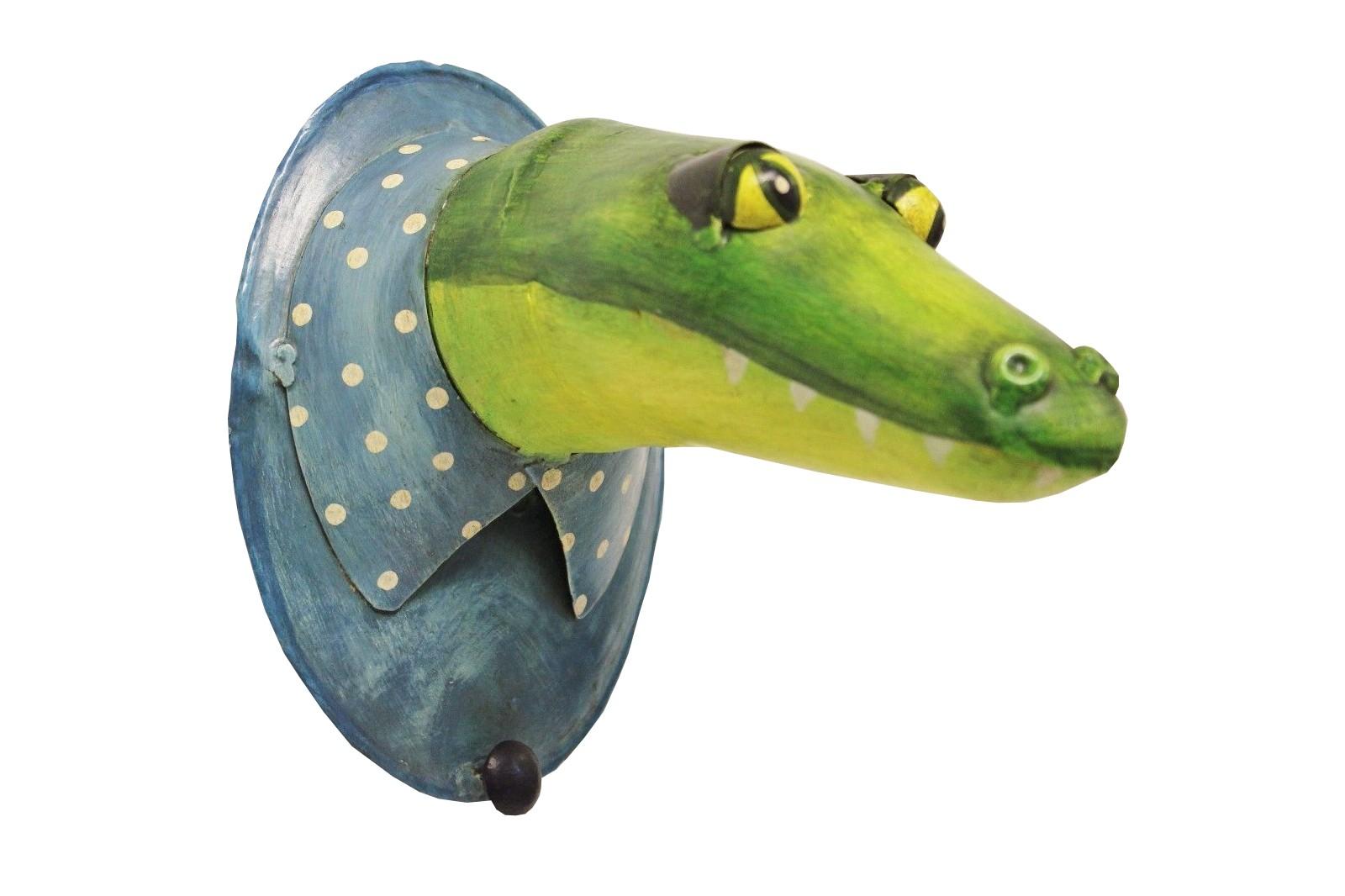 Garderobenhaken Trophäe Krokodil mit Kragen