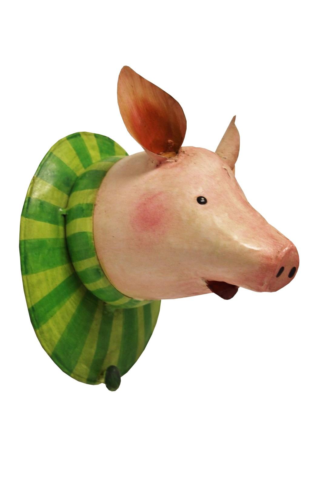 Schwein mit Kragen Garderobenhaken Trophäe
