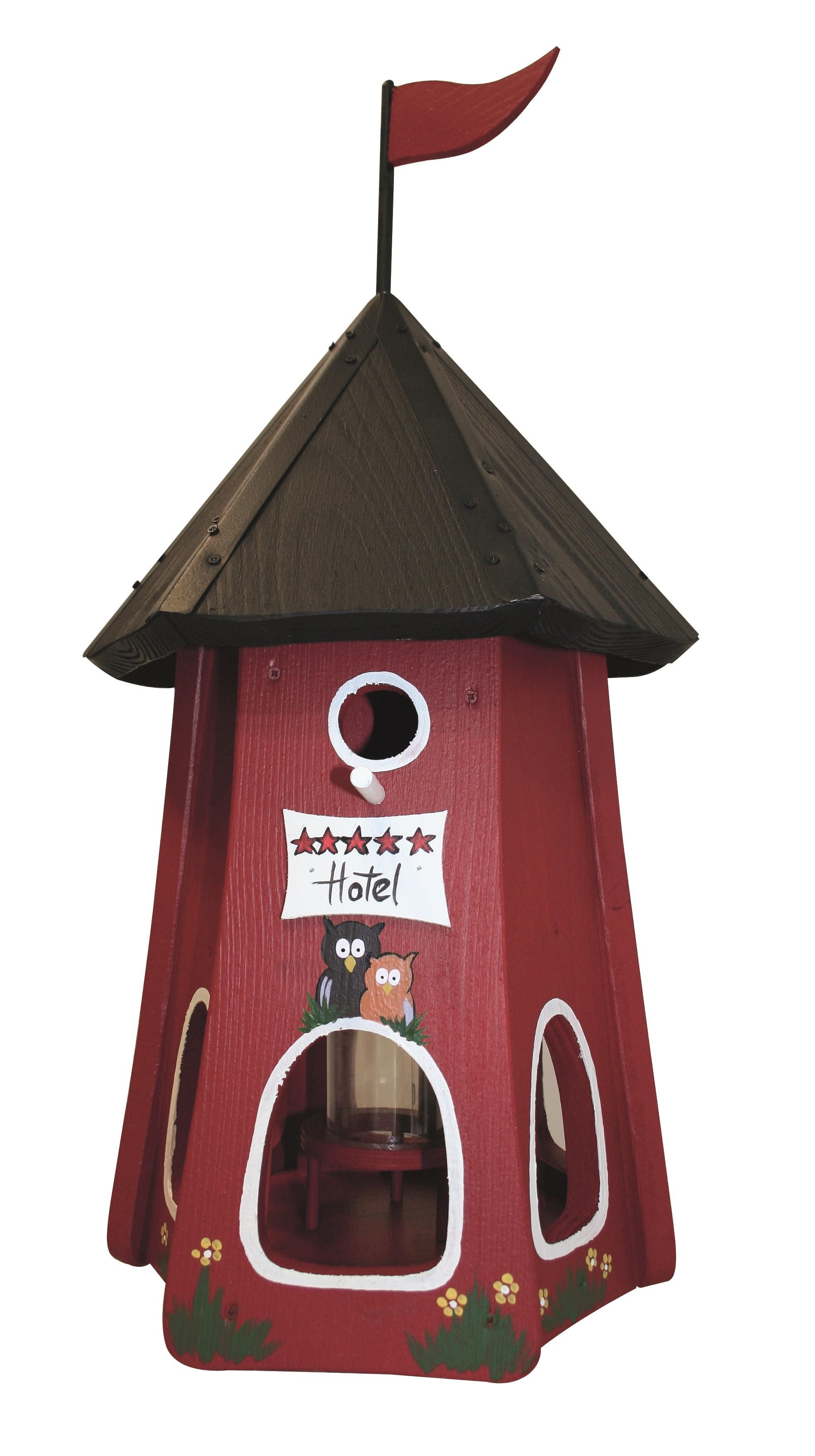 Turmhotel 5 Sterne Eulen Rot von Die Vogelvilla