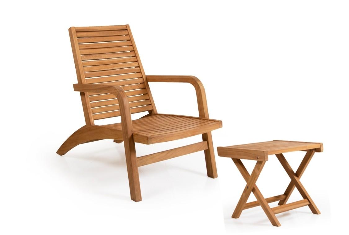 Brafab SET Teak Garten Deckchair Liegestuhl  mit Fußhocker Volos