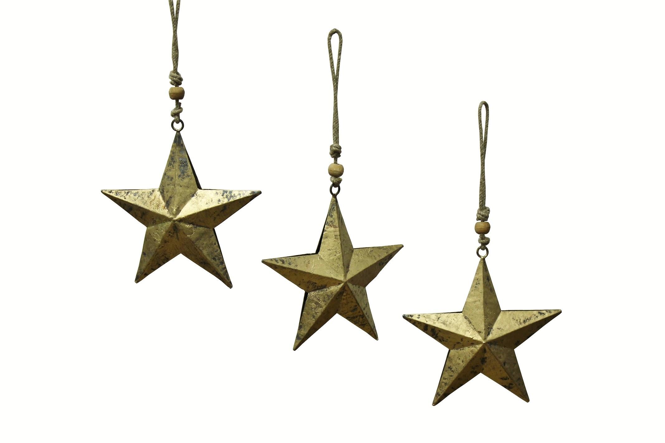 Weihnachtsstern gold hängend 3er Set  Metall  klein